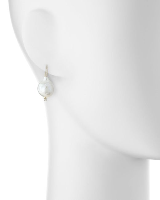 Mizuki | White 14k Gold Pearl & Diamonds Earrings | Lyst