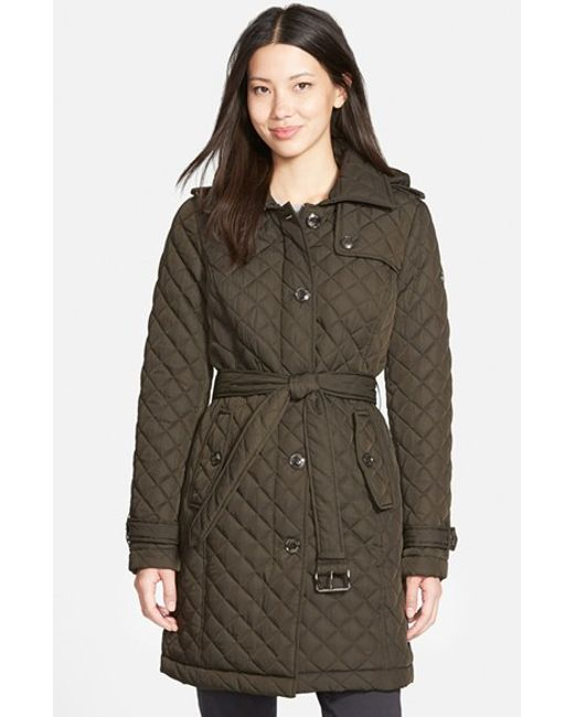 MICHAEL Michael Kors | Green Belted Quilted Coat With Detachable Hood | Lyst