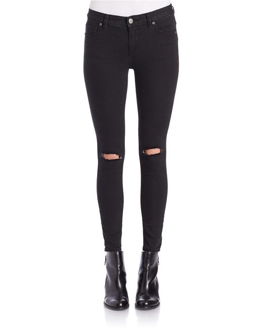 Free People | Black Destroyed Skinny Jeans | Lyst