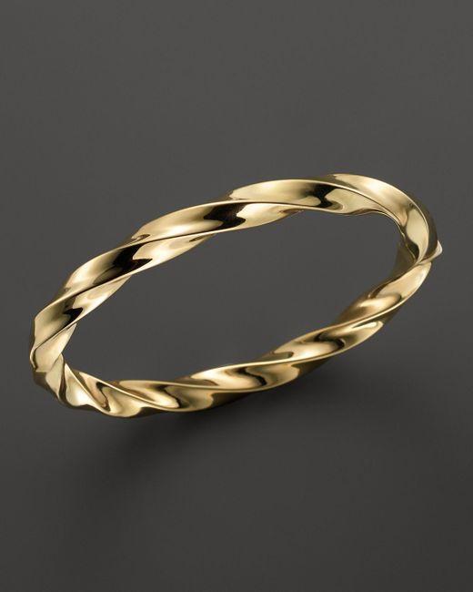 Roberto Coin | Metallic 18k Yellow Gold Wave Bangle | Lyst