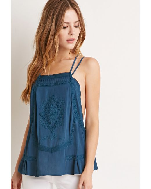 Forever 21 | Blue Embroidered Y-back Cami | Lyst