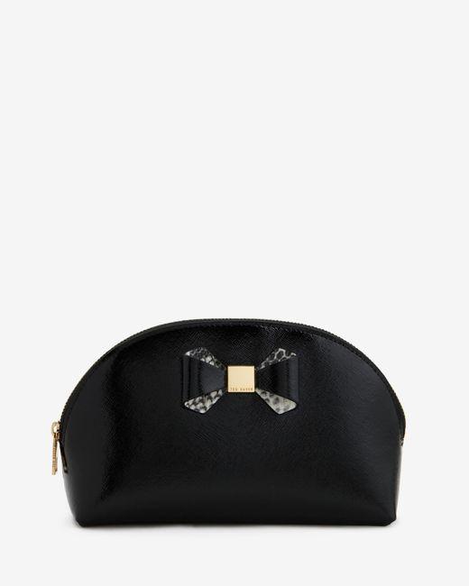 Ted Baker | Black Bow Trim Large Leather Wash Bag | Lyst