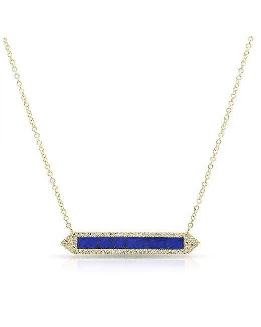 Anne Sisteron | Metallic 14kt Yellow Gold Lapis Diamond Bar Necklace | Lyst