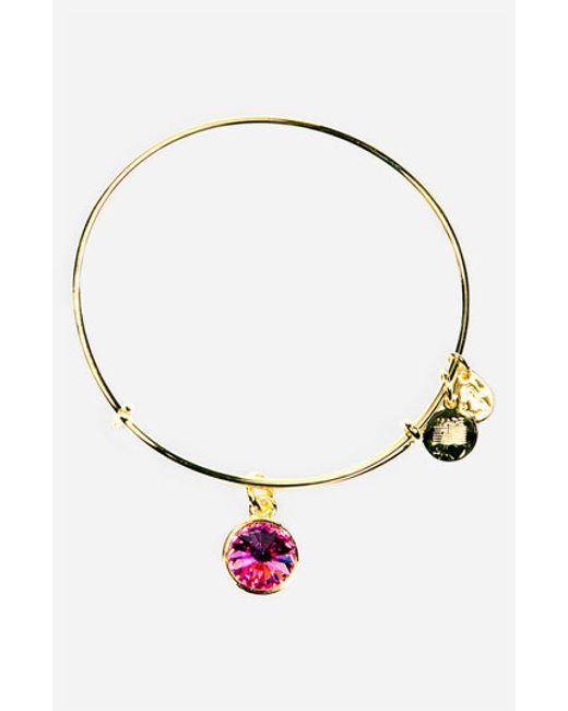ALEX AND ANI | Pink Birthstone Expandable Wire Bangle | Lyst