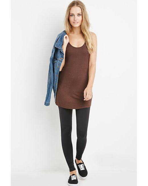 Forever 21 | Brown Ribbed Knit Longline Tank | Lyst