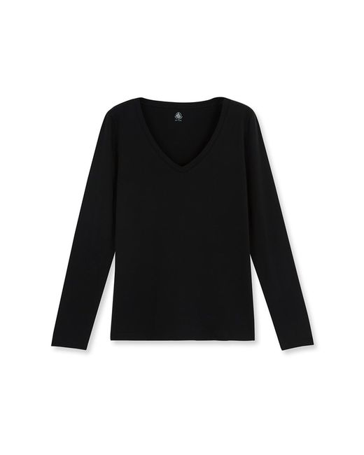 Petit Bateau | Black Women's Long-sleeved V-neck Tee In Loose Cotton | Lyst
