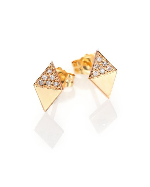 Zoe Chicco | Metallic Diamond & 14k Yellow Gold Double Triangle Stud Earrings | Lyst