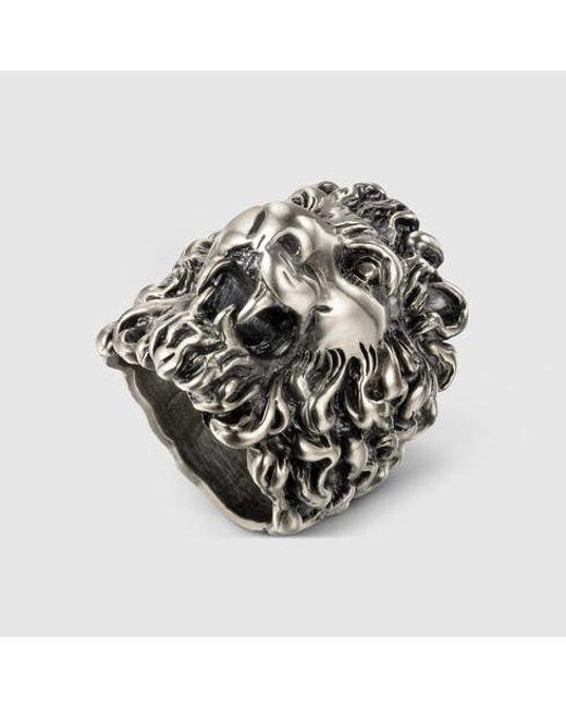Gucci | Metallic Lion Head Ring | Lyst