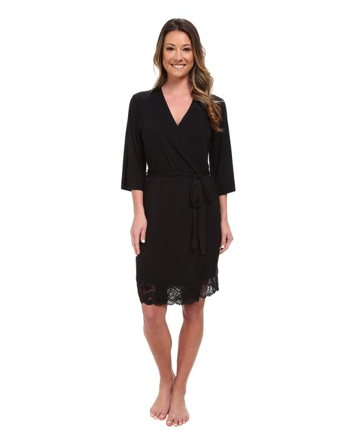 Pj Salvage | Black Rayon Basic Robe | Lyst