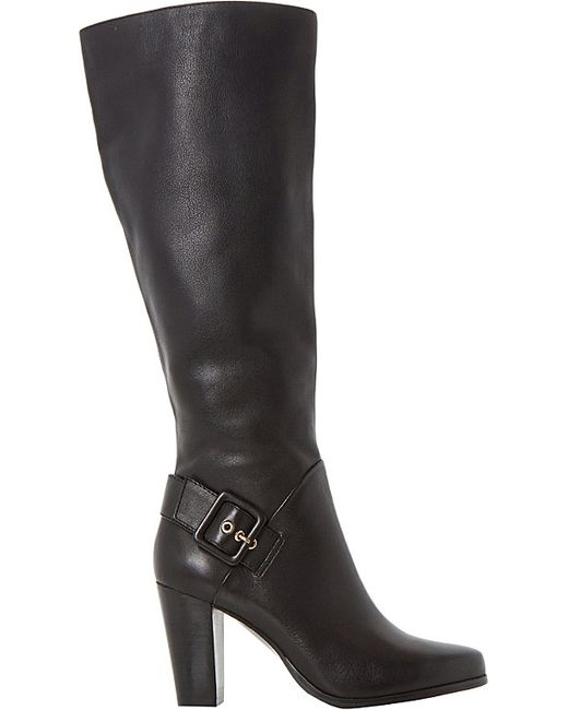 dune sydney side buckle knee high boots in black b l a c