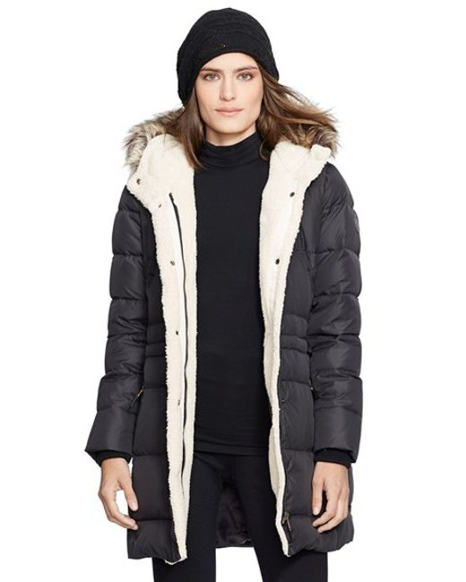 Lauren by Ralph Lauren | Black Faux Fur Trim Down & Feather Fill Parka | Lyst