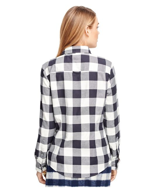 Brooks brothers buffalo check flannel shirt in blue navy for Buffalo check flannel shirt