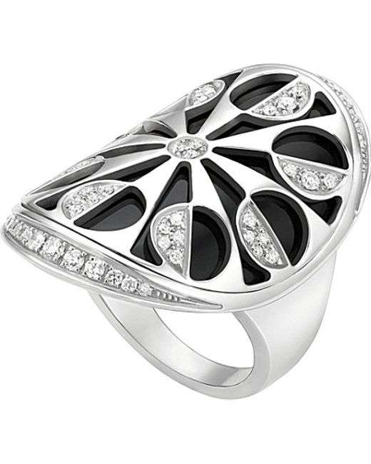 BVLGARI | Metallic Intarsio 18kt White-gold And Black-onyx Ring | Lyst