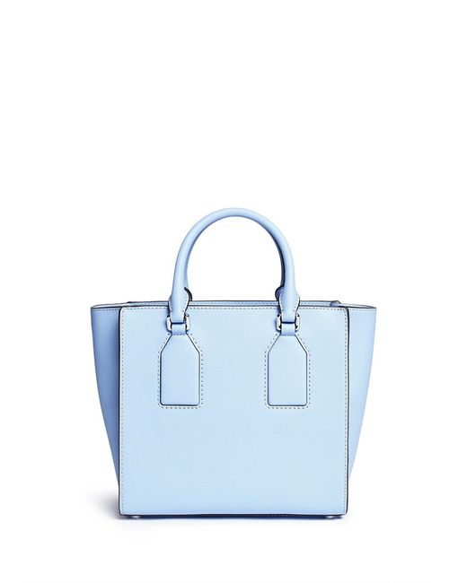 michael kors 39 selby 39 medium saffiano leather satchel in blue light. Black Bedroom Furniture Sets. Home Design Ideas