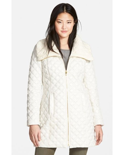 Via Spiga | White Knit Collar Quilted Front Zip Coat | Lyst