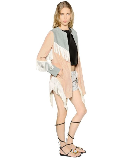 DROMe | Pink Fringed Suede Jacket | Lyst