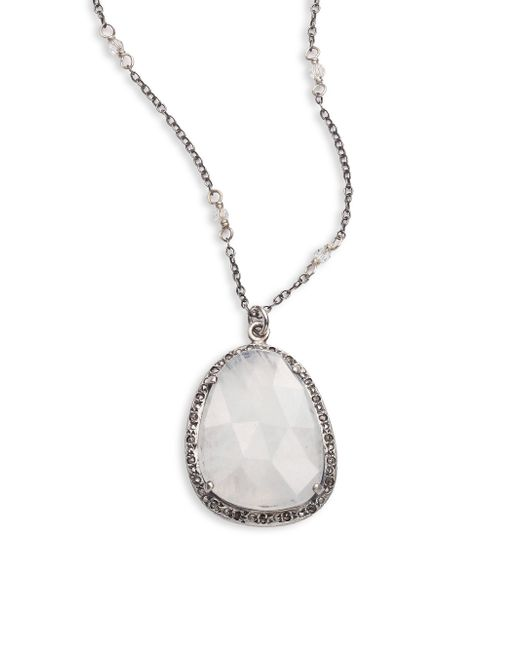 Chan Luu | Metallic Moonstone, Champagne Diamond, Crystal & Sterling Silver Long Pendant Necklace | Lyst