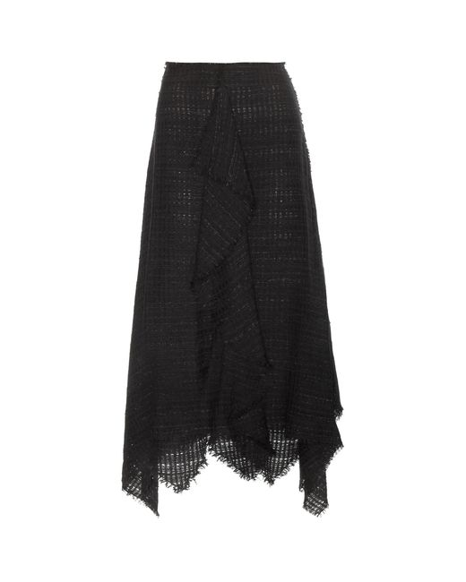 proenza schouler tweed midi skirt in black lyst