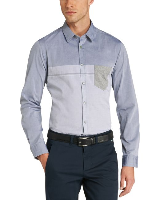 BOSS Green | Blue Slim Fit Casual Shirt 'bour' In A Cotton Blend for Men | Lyst
