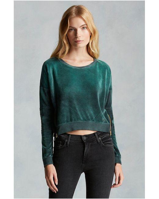 True Religion   Green Moto Zip Velour Womens Sweatshirt   Lyst