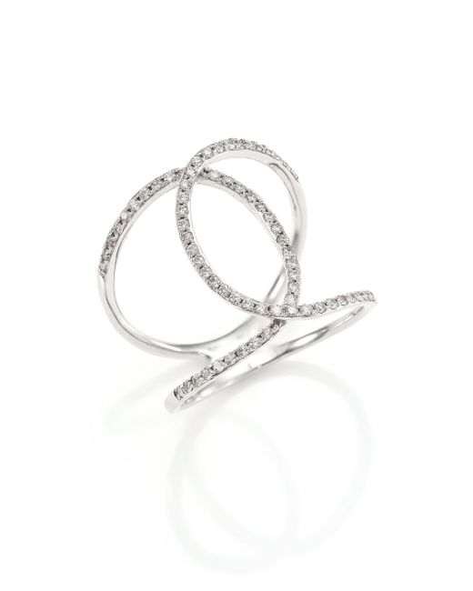 ef collection pave 14k white gold infinity ring