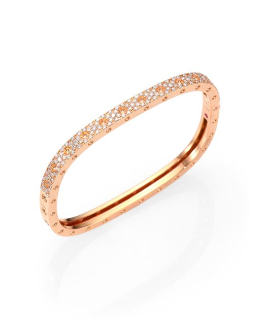 Roberto Coin | Metallic 0.36 Tcw Diamond & 18K Rose Gold Bracelet | Lyst