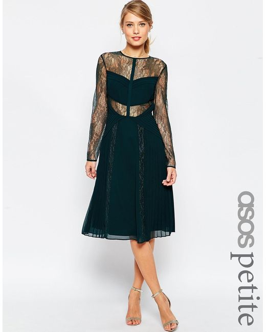 ASOS | Midi Lace Skater Dress With Cut Outs - Green | Lyst