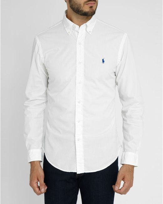 Polo Ralph Lauren White Silk Cotton Slim Fit Shirt In