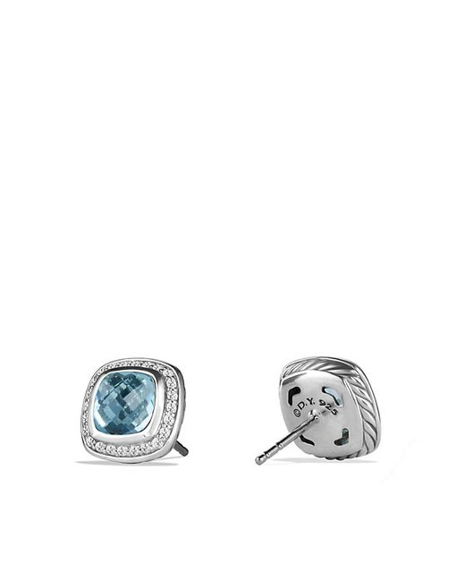 David Yurman | Albion Earrings With Blue Topaz And Diamonds, 7mm | Lyst