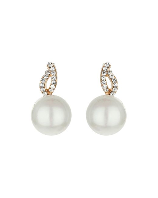 Mikey | White Twist Loop Crystal Pearl Drop Earring | Lyst