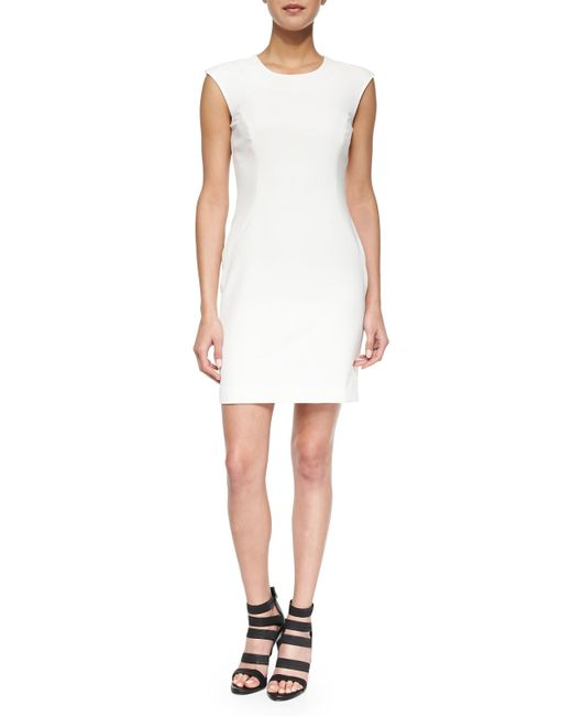 MILLY | White Cap-sleeve Modern Sheath Dress | Lyst