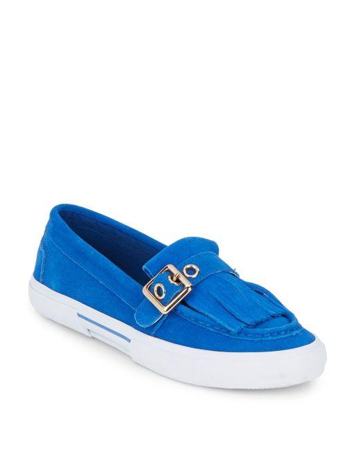 Isaac Mizrahi New York | Blue Monroe Fringed Suede Sneakers | Lyst