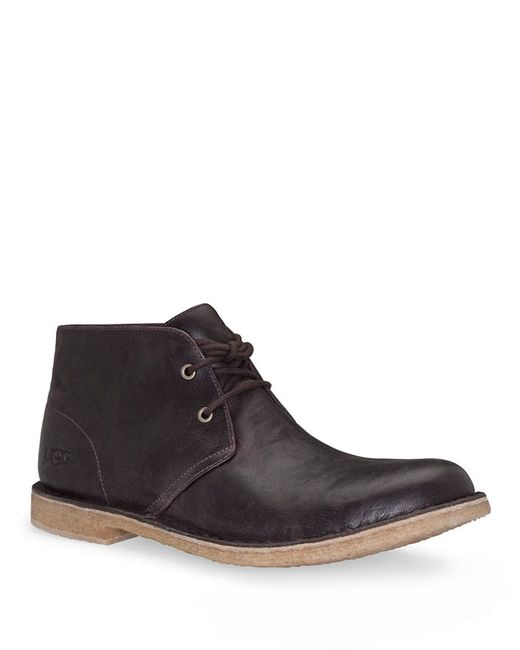 UGG | Brown Leighton Leather Desert Boots for Men | Lyst