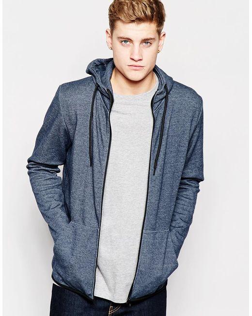 jack jones zip up hoodie in blue for men navy lyst. Black Bedroom Furniture Sets. Home Design Ideas