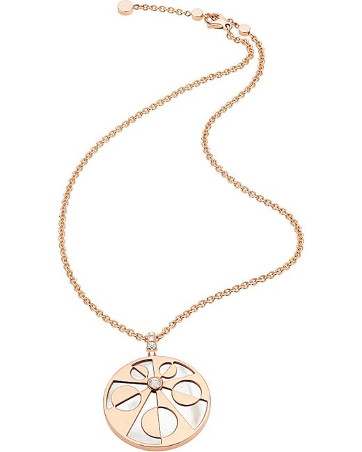 BVLGARI | Metallic Mediterranean Eden 18ct Pink-gold Necklace With Mother Of Pearl And Pavé Diamonds | Lyst