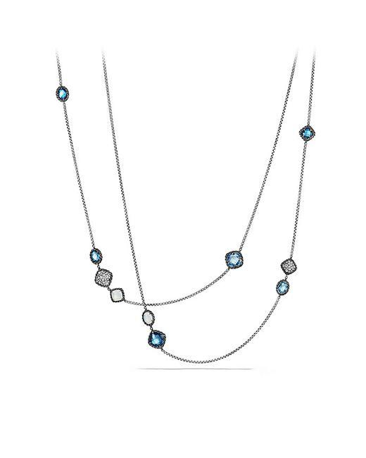 David Yurman | Bijoux Chain Necklace With Blue Topaz, Hampton Blue Topaz And Gray Diamonds | Lyst