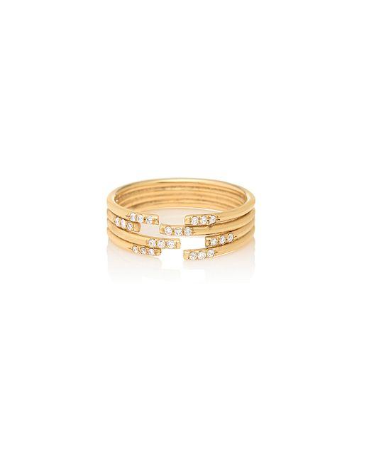 Jennie Kwon | Metallic Stacked Diamond Cuff Ring | Lyst