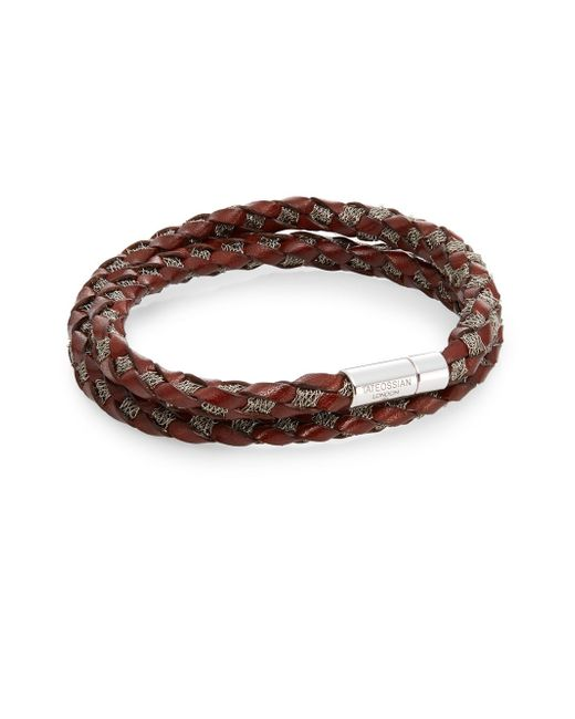 Tateossian | Brown Pop Steel Medium Woven Leather & Steel Wrap Bracelet for Men | Lyst