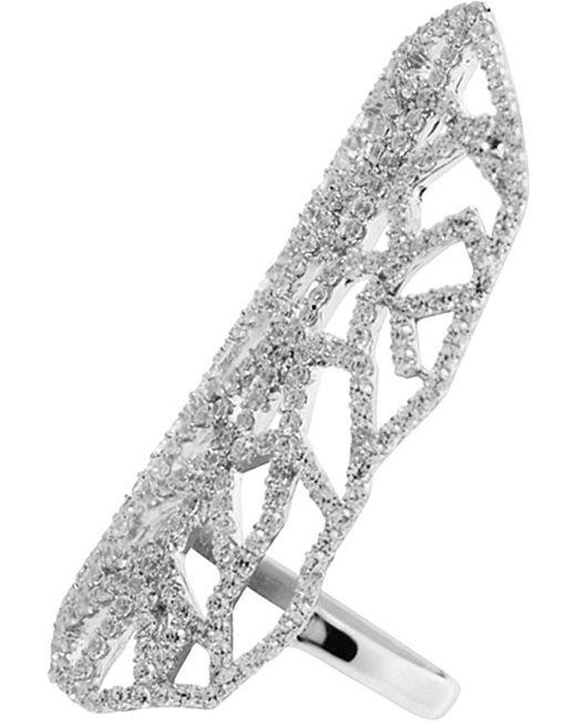 Carat* | Metallic Indira Heroines White Gold Finish Ring | Lyst