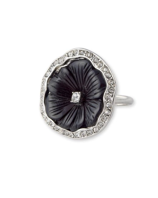 Kenneth Jay Lane | Metallic Black Flower Ring | Lyst