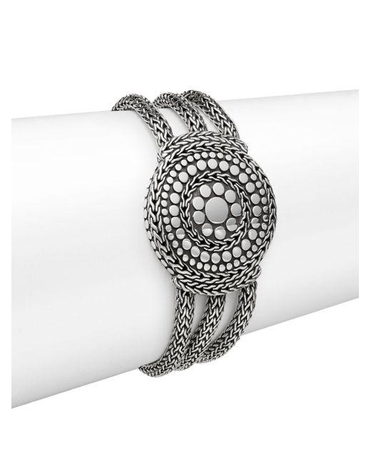 John Hardy | Metallic Dot Sterling Silver Medallion Three-row Chain Bracelet | Lyst