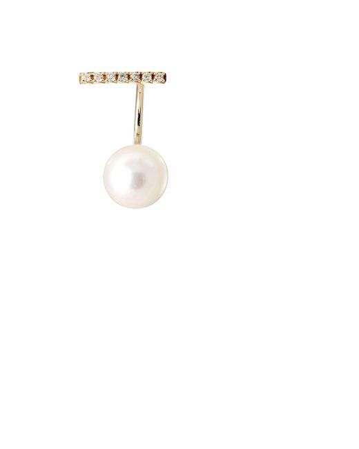 Hirotaka | White Pavé Staple Earring Size Os | Lyst