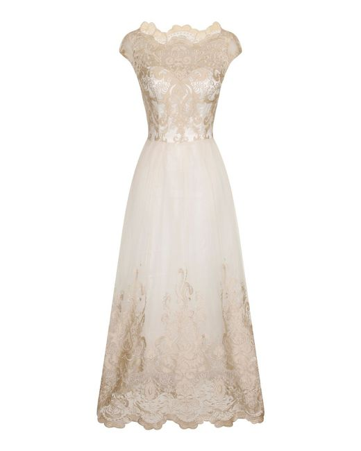 Chi Chi London   Natural Metallic Lace Tea Dress   Lyst