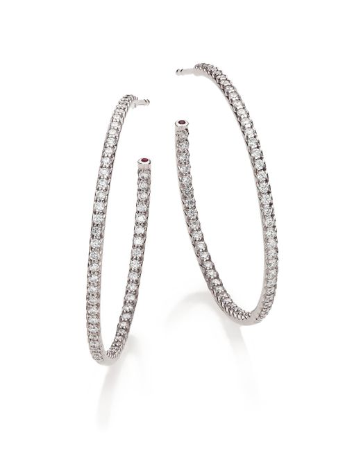 Roberto Coin | Metallic Diamond & 18k White Gold Inside-outside Hoop Earrings/1.4 | Lyst