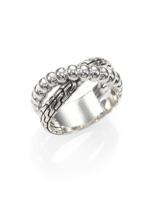John Hardy   Metallic Bedeg Sterling Silver Crossover Ring   Lyst
