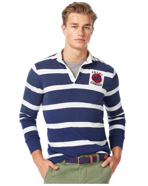 Polo ralph lauren long sleeve striped rugby shirt in white for Long sleeve striped rugby shirt