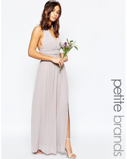 Tfnc london wedding halter neck chiffon maxi dress for Purple maxi dresses for weddings