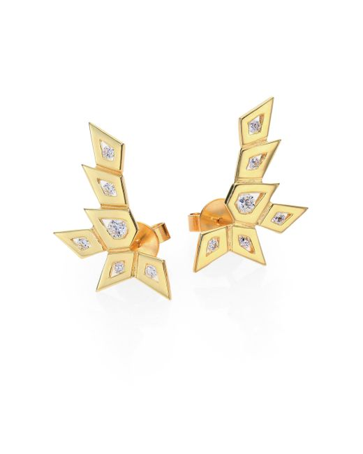 Ron Hami | Metallic Rain Diamond & 18K Yellow Gold Medium Spike Ear Cuffs | Lyst