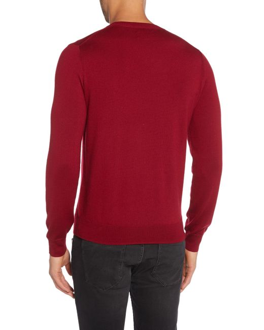 GANT | Red Crew Neck Merino Jumper for Men | Lyst