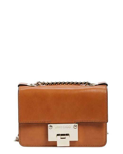 Jimmy choo 'rebel Mini' Leather Crossbody Bag in Brown | Lyst